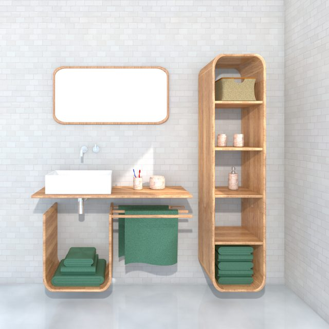 Design bathroom furniture set Rinse & Fold front perspective