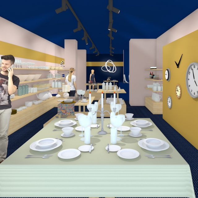 Impression STORE arranged table as extension of the shop window