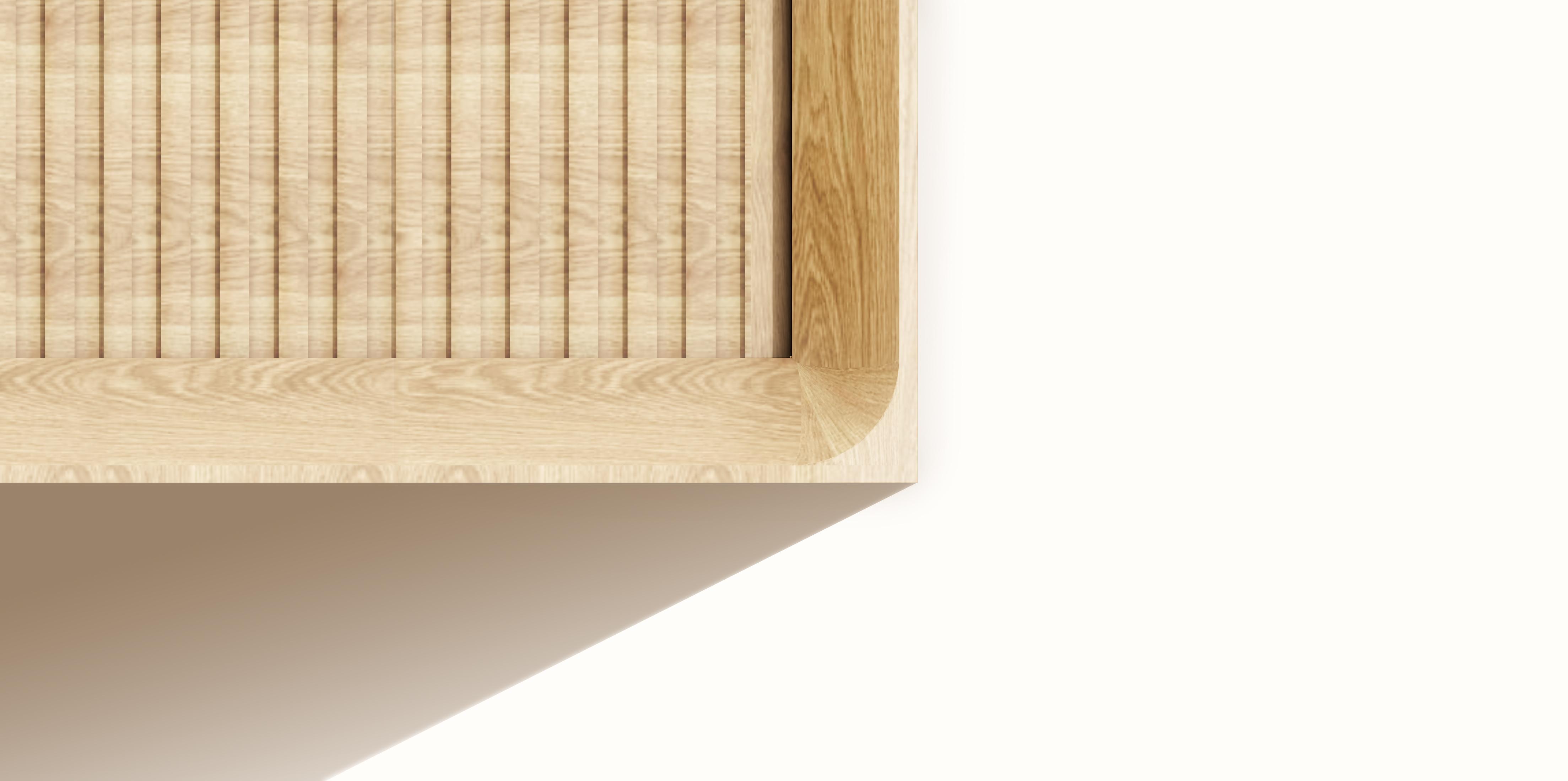 Hide cabinet detail finish, wide shot