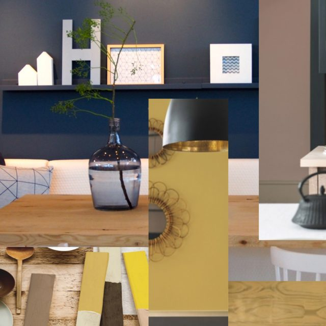 Moodboard interior retail shop, impression colors and ambiance